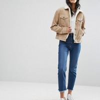 ASOS TALL Cord Jacket With Fleece Collar in Stone at asos.com