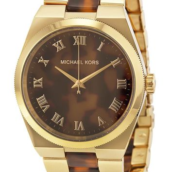 c8496ab0ad67 Michael Kors MK6151 Channing Gold-tone Tortoise Acetate Women s Watch