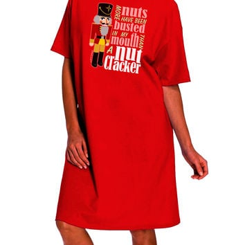 More Nuts Busted - My Mouth Dark Adult Night Shirt Dress by