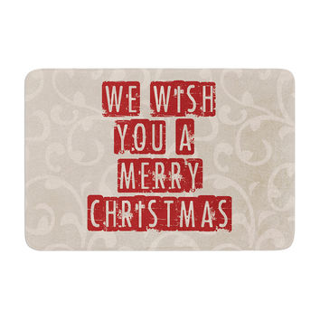 "Sylvia Cook ""We Wish You A Merry Christmas"" Holiday Memory Foam Bath Mat"