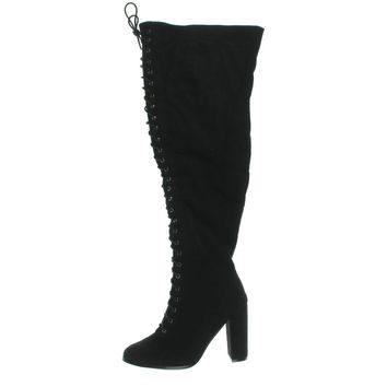 N.Y.L.A. Womens Olygmacy Faux Suede Lace Up Thigh-High Boots