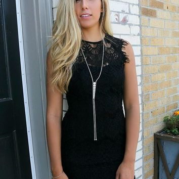 Montreal High Neck Black Lace Body Con Dress