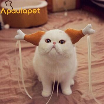 APAUALPET Novel Dog Cat Hat Cap Cosplay Costume For Puppy Cats Cute Funny Chicken Leg Hair Loop Head Wear Pet Hat Lovely Cat Toy