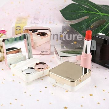 Fashion Reflective Cover Contact Lens Case With Mirror Colorful Contact Lenses Case Container Cute Lenses Travel Kit Box Women