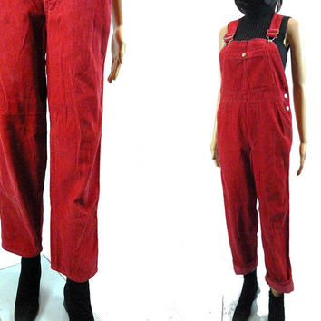 tEMPSALE Red Corduroy Overalls/ Vintage  Bib Overall Retro High Waist Farmer Hippie Pants/ Vtg GAP Small Jumpsuit/ Adult Onsie/  90's Clothi