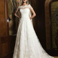 2014 White/Ivory Elegant Short Sleeve Wedding Dresses Fashion Lace Bridal Gown
