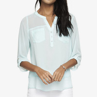 CHIFFON PIECED TWO POCKET SHIRT from EXPRESS