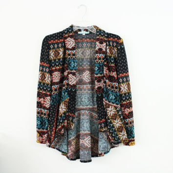Tribal Print Sweater / Tribal Print Cardigan / Polyester Knit / Size Small