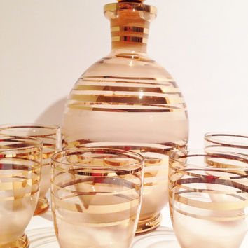 PINK Mid Century Vintage Pink W Gold Rings Decanter Set W 5 Glasses