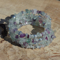 Rainbow Fluorite Wrap Bracelet ~ Irregular Chip Stones ~ Natural Semi Precious Stones ~ Tibetan Silver Beads  ~ OOAK ~ One of a Kind