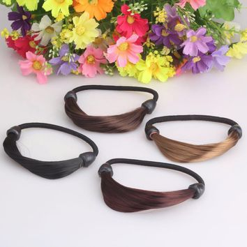 Women Korean Style Straight Hairpiece Headband Rope Coil Updo Maker Stretchy girls Hair Accessories Wig Elastic Hair band
