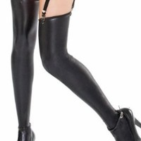 Plus Size Lingerie Sexy Wet Look Black Stockings - Fits Size 14-20