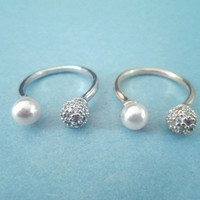Unique Modern, Cubic Pearl, Silver or Gold, Ring