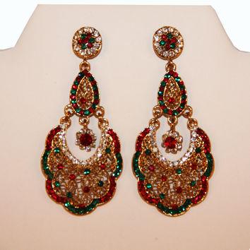 Indian Red & Green Earrings