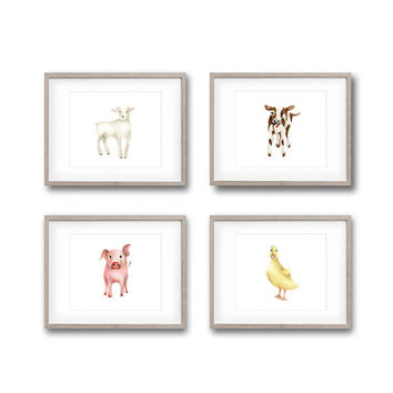 Farm Nursery Art, Set of 4 Prints, Animal Paintings, Cow, Duck, Lamb, Pig, Farmyard Nursery, Childrens Wall Decor, Toddler Room Art Prints
