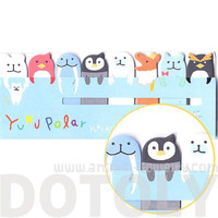Polar Bear Walrus Penguin Shaped Cartoon Sticky Post-it Memo Bookmark Tabs | Cute Arctic Animal Themed Affordable Stationery