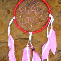 Pink Feathered Beaded Large Dream Catcher
