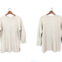 Oversized Knit Sweater Linen Cotton Textured Sweater Top Minimal Beige Long Pullover Slouchy Preppy Light Weight Sweater Womens Large XL