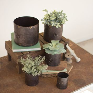 Set Of 5 Rustic Metal Containers