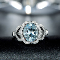 2.35ctw Oval Cut Aquamarine Engagement ring,0.27ct VS Diamond wedding band,14K Gold,Blue Gemstone Promise Bridal Ring,Flower Floral,Halo