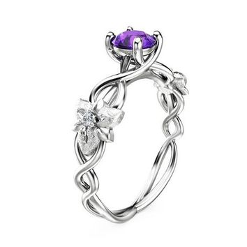 14K White Gold Amethyst Engagement Ring Flower Design Amethyst Ring Nature Inspired Engagement Ring Unique Alternative Ring