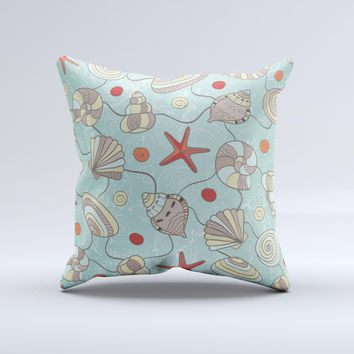 Teal Vintage Seashell Pattern ink-Fuzed Decorative Throw Pillow