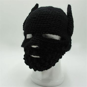 New Funny Handmade Knitted Beanie hat Batman Mask Hats For Men Women Winter Ski Caps gorras hombre Creative Cap Halloween gift