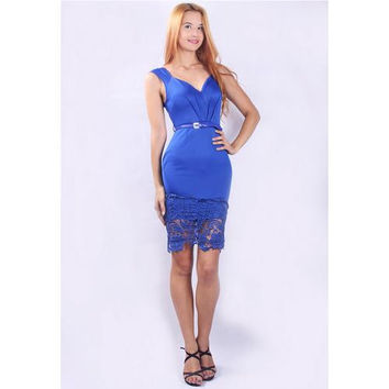 New Arrival Seductive V-neck Floral Mesh Hem Patchwork Midi Dress Blue