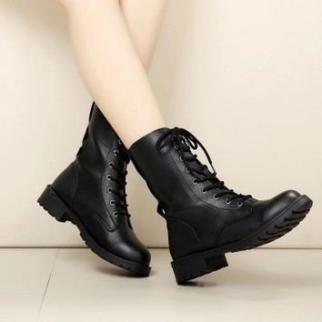Fashion New Women Boots Shoes Casual Ankle Boot Military Combat Boots Lace Up Cowboy Dress Shoes