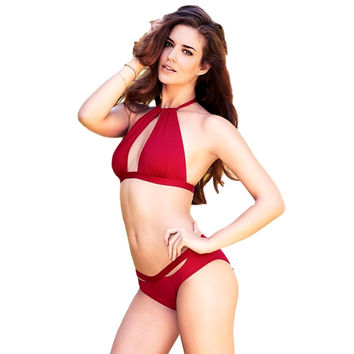 Solid Ruffled Hollow out Halter Bikini Set