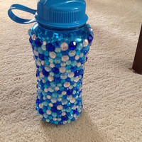 Blue Rhinestone Water Bottle