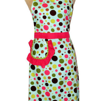 Multicolor Polka Dot Full Apron - Hot Pink Lime Green Accents - Adult