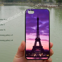 Eiffel Tower iPhone case cover, Purple Sky iPhone 5 case,iPhone 5C case,Iphone 5 cover,iPhone 5S case,Samsung Galaxy S3 S4,iPhone 4 Case-381