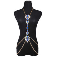 statement necklace on Facebook colorful long body jewelry women crystal sexy necklace body chain jewelry