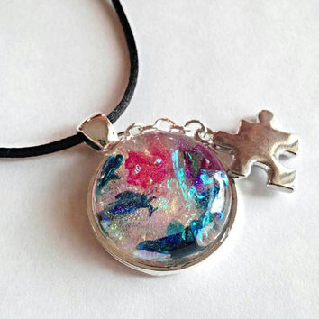 Autism necklace, autism awareness jewelry, Autism pendant, puzzle necklace, mom necklace, multi colored resin necklace, birthday gift
