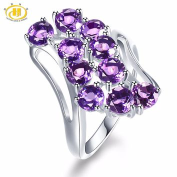 Hutang Natural Gemstone African Amethyst Solid 925 Sterling Silver Engagement Ring Fine Jewelry presents Gift NEW Arrival