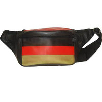 German Flag Design Genuine Leather Fanny Pack - Waist Pouch for Men & Women 967 (C)