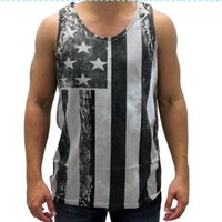 Black and White American Flag Tank Top