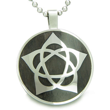 Flower of Life Wiccan Pentacle Star Black Wood Amulet Pendant 18 Inch Necklace