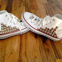 Silver Studded White Hi-Top Chucks