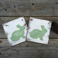 Distressed Rustic Wooden Easter Bunny Tags, Easter Decor, Grungy Primitive Wooden Easter Signs, Spring Decor, Set of 4
