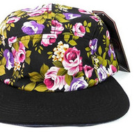 Black Flower/ Black 5 Panel Hat