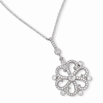 Sterling Silver & CZ Flower Necklace