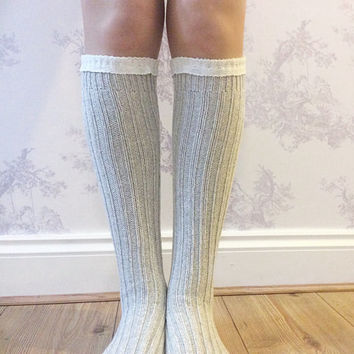 Sand Boot Socks, Crochet Lace Socks, Wool Blend Knitted Socks, Leg Warmers, Winter Wear, Fashion Accessory, Fashion Socks. Wool Stockings.
