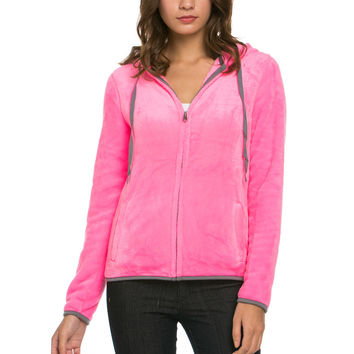 Women's Full Zip Fleece Hoodie Jacket Neon Pink