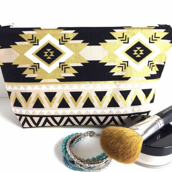 Boho Makeup Bag, Large Makeup Bag, Gold and Black Cosmetic Bag, Large Zipper Pouch