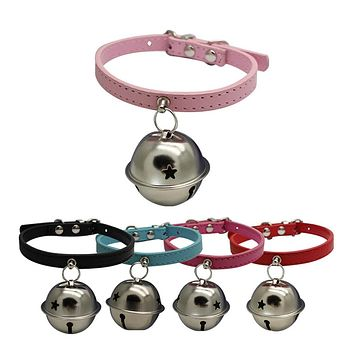 Pet Cat Adjustable Faux Leather Collar with Bell Dog Puppy Necklace Collar Gift