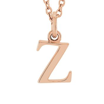 The Abbey Lower Case Initial 'z' Necklace in 14k Rose Gold, 16 Inch