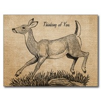 Burlap Vintage Deer Doe Thinking Of You Postcard from Zazzle.com