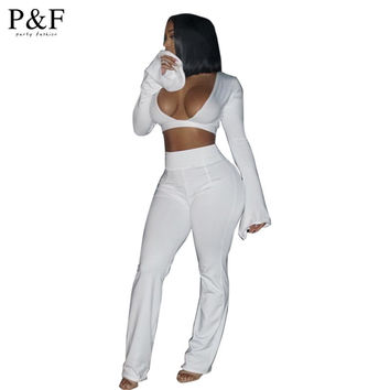 2016 Women Jumpsuits And Rompers Elegant Long Pants Crop Tops Set Sexy mandarin sleeve white Rompers 2 Pieces v neck Jumpsuits